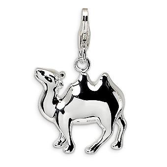 925 Sterling Silber poliert Rhodium vergoldet Fancy Hummer Verschluss 3 D emaillierte Kamel mit Hummer Verschluss Charme Anhänger Ne