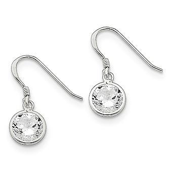 925 sterling silver dingla polerad herde krok rund klar Cubic zirconia örhängen