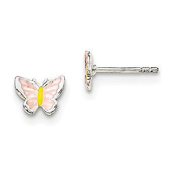 925 Sterling Ezüst fiúknak vagy lányoknak Zománcozott Butterfly Angel Wings Post fülbevaló - 1,0 gramm