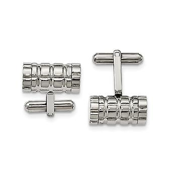 Stainless Steel Polished Grooved Cylinder Cuff Links Jewelry Gifts for Men