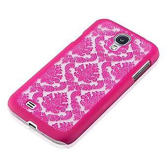Samsung Galaxy S4 kovakotelo vaaleanpunainen Cadorabo - kukka Paisley Henna Design suojakotelo - Puhelin tapauksessa puskurin takakotelon kansi