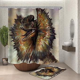 Art Painting Dilophosaurus Dinosaur Shower Curtain