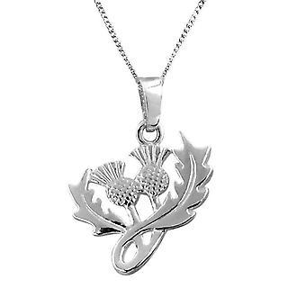 Scottish Thistle Shape Flower Of Scotland Necklace Pendant - Includes A 18