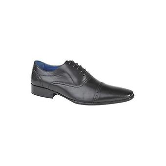 Roamers Jonty Mens Leather Capped Oxford Shoes Black