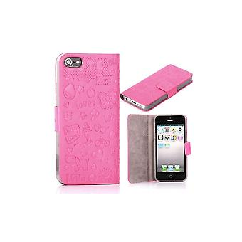 Pink Cover Top Horizontal Magnetized Cartoon Pattern For IPhone 5