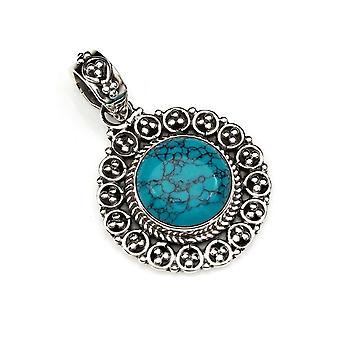 Amuleto de pingente de corrente prata 925 Sterling Silver Blue Green Stone (Não: MAH 104-15)