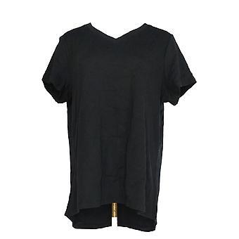 Isaac Mizrahi Live! Kvinner ' s Top Essentials V-hals svart A286116