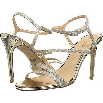 Jewel Badgley Mischka Women's Maddison Sandal, gold glitter, M100 M US