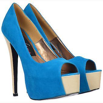 Onlineshoe dos tonos ante Peep toe tacones altos - Plataforma oculta - Azul / Beige