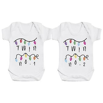 Twin No 1 & 2 Fairy Lights, Baby Gift, Baby Boy Gift, Baby Girl Gift, Baby Boy Bodysuit, Baby Girl Bodysuit