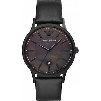 Emporio Armani horloge AR11276-Dateur Bo tier staal zwart lederen armband zwart mannen