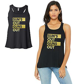 Sun's Out Gun's Out-GOLD Work Out Womens Black Tank Top