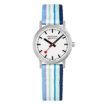 Mondaine Classic Multicoloured Textile Strap White Dial Quartz Men's Watch A658.30323.16SBP
