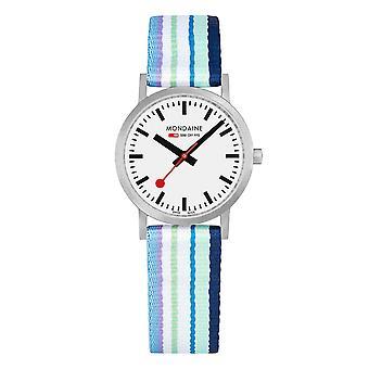 Mondaine clássico multicoloured pulseira de têxteis mostrador branco Quartz Men ' s Watch A 658.30323.16 SBP