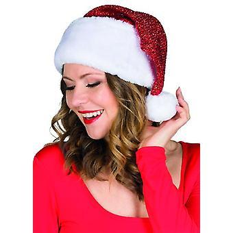 Santa hoed Lurex accessoire volwassen rode witte kerst