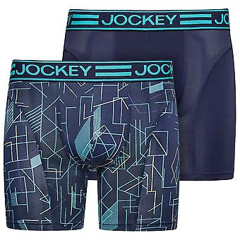 Jockey Microfiber Active 2-Pack Boxer Trunk, Blue Maritime, Small