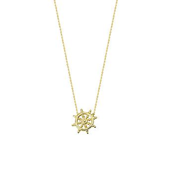 14k Yellow Gold Adjustable Mini Ship Wheel Necklace Sparkle Cut Cable 18 Inch Jewelry Gifts for Women