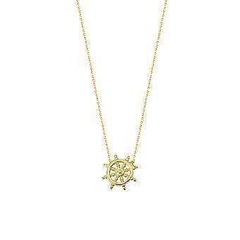 14k Yellow Gold Réglable Mini Ship Wheel Necklace Sparkle Cut Cable 18 Inch Bijoux Cadeaux pour les femmes