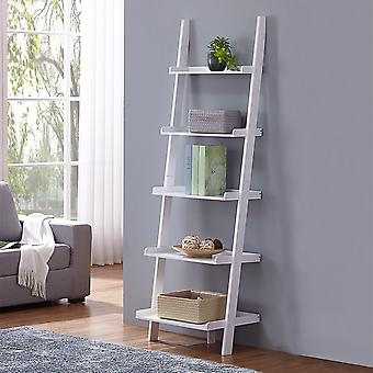 Charles Bentley Tall Wooden 5 Rung Ladder Lager Regal Einheit Display Regal Weiß 180x40x60cm