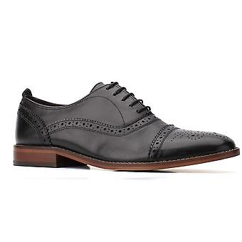 Basis London Mens Cast Waxy Lace Up Lederen Oxford Schoenen