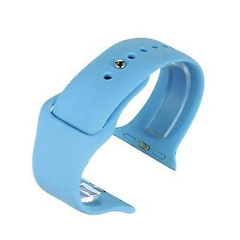 Watch strap made by w&cp to fit apple iwatch watch strap blue silicone rubber 38mm and 42mm