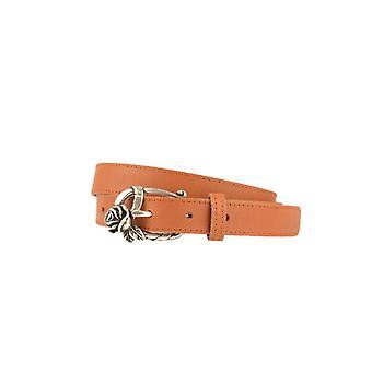Narrow Maroon Women's Belt With Rose On Buckle
