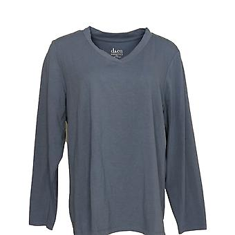 Denim & Co. Dame's Topp Crossover V-Hals Langermet T-skjorte Blå A346276