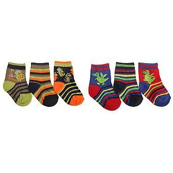 Baby Boys různé vzory designu dinosauři/drak ponožky (balík 3)