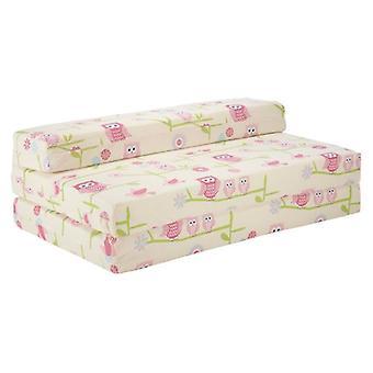 Ready Steady Bed Children's Double Chair Futon Z Owls Design Guest Bed Folding Mattress, Cotton, Beige