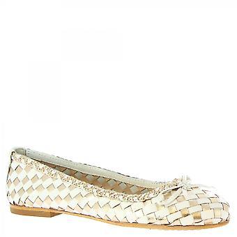 Leonardo Shoes Women-apos;s handmade slip on ballet flats gold white woven leather
