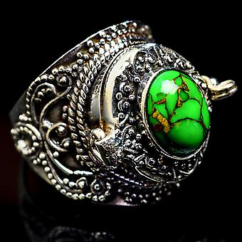 Large Green Copper Composite Turquoise Poison Ring Size 7 (925 Sterling Silver)  - Handmade Boho Vintage Jewelry RING3185