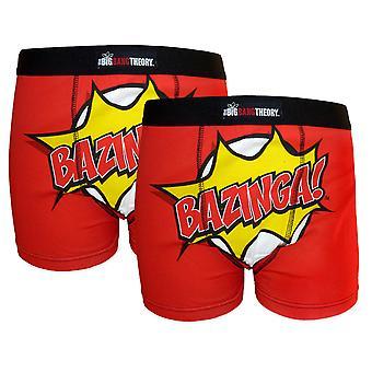 The Big Bang Theory Official Gift 2 Pk Mens Boxer Shorts BAZINGA!