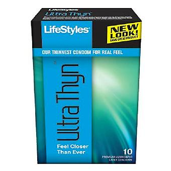 Lifestyles ultra thyn lubricated latex condoms, 10 ea