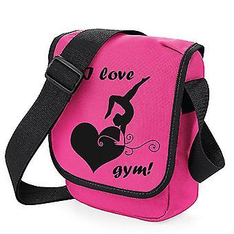 """praktiske skuldertaske """"Jeg elsker Gym"""" / gymnastik og gymnastik (fuchsia/sort)"""
