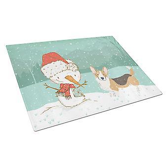 Tricolor Cardigan Corgi Lumiukko joululasi leikkauslauta suuri