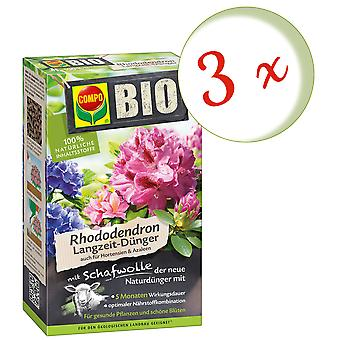 Sparset: 3 x COMPO BIO rhododendron and hydrangeas Long-term fertilizer with sheep's wool, 750 g
