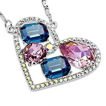 Dazzling shades of blue multi-stone iobi crystals heart pendant necklace