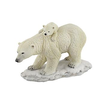 Polar Bear Mother With Adorable Freeloading Cub Statue