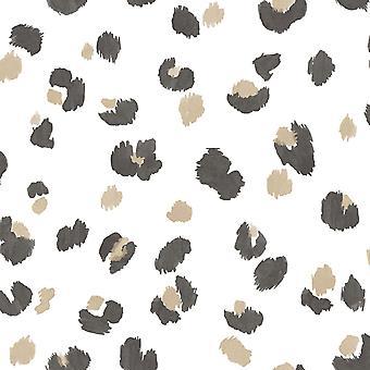 Leopard Spot Wallpaper White/Gold/Black World of Wallpaper WOW039