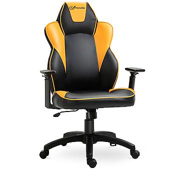 Vinsetto PU Leather Office Swivel Chair w/ Orange Panels Padding High Back Adjustable Height Armrests Wheels Home Gaming Seat Black