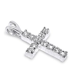 925 Sterling Silver Methodist Cross Pendant Cubic Zirconia Stones