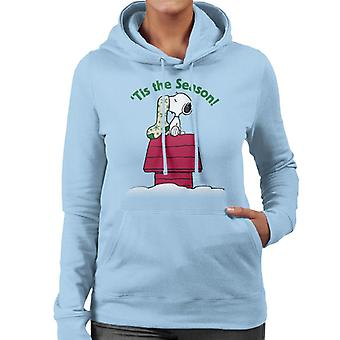 Orzeszki ziemne Snoopy Tis Sezon Świąteczne Pończochy Damska bluza z kapturem