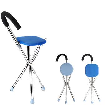 Folding Walking Cane Rest - Stainless Steel Walking Stick Chair Seat Non-slip Tripod Cane For Elders