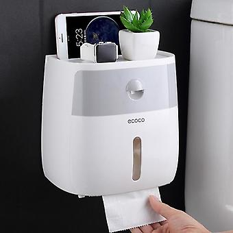 Waterproof, Double Layer And Wall Mounted Toilet Paper Holder And Storage Box