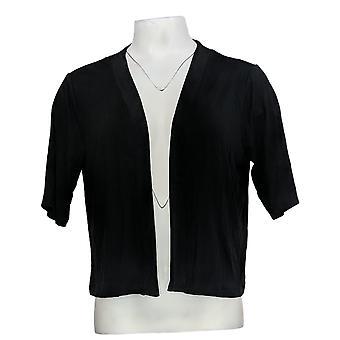Joan Rivers Femmes's Top Jersey Knit Shrug Manches courtes Noir A378284