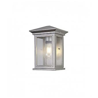Epica Flush Wall Lamp, 1 X E27, Ip54, Silver Grey/clear Seeded Glass, 2yrs Warranty