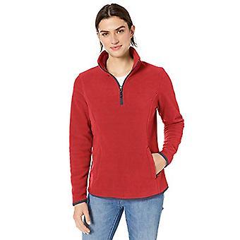 Essentials Women's Quarter-Zip Polar Fleece Pullover Jacket, Red/Navy,...