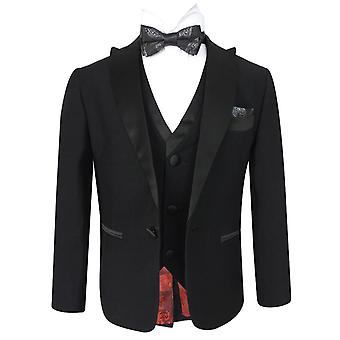Boys Slim Fit Luxury Black Tuxedo Suit Sets