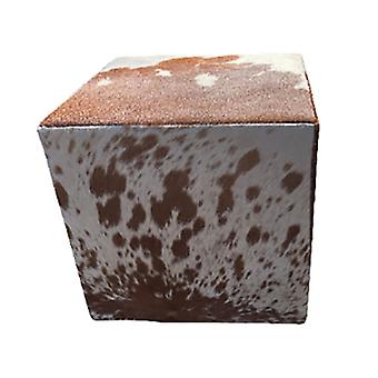 Spura Home Leather Cowhide Ottoman For Decor