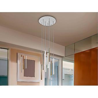 Zintegrowany LED 9 Light Cluster Drop Ceiling Wisiorek Matowy Biały, Złoty